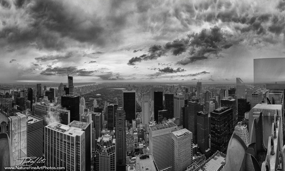 Black and White Photo from the Top of the Rock