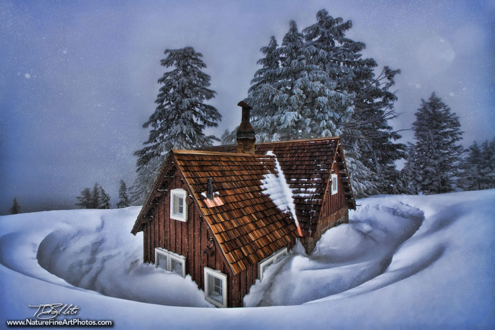 Fine Art Photo of Crater Lake Cabin in the Snow